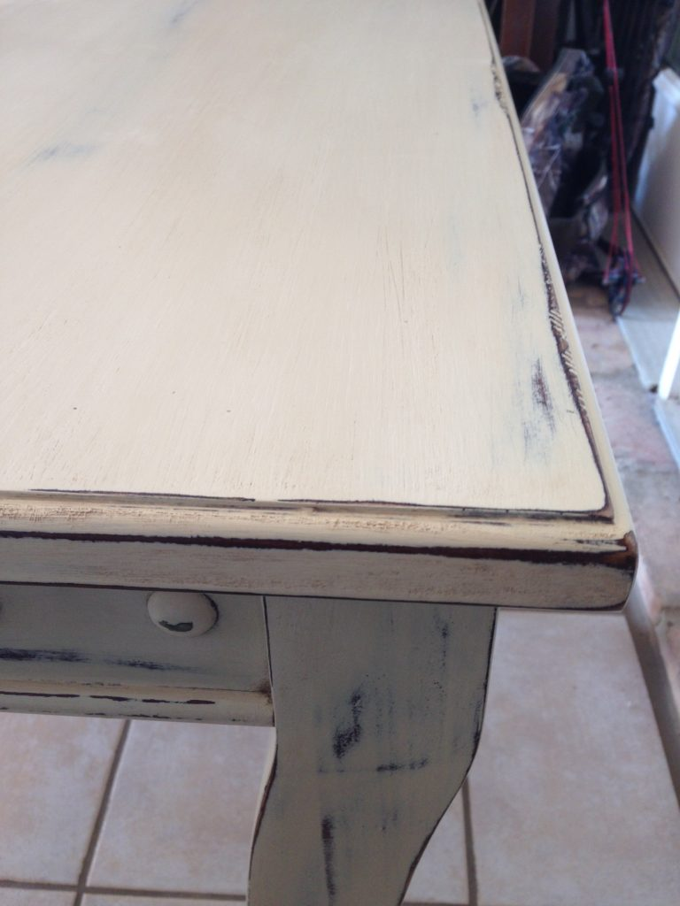 Distressed White End Table
